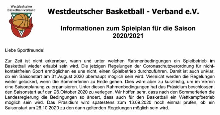 Jetzt ist es offiziell. Der Ligaspielbetrieb auf WBV Ebene startet voraussichtlich am 26.10.2020.